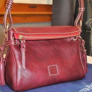 Dooney & Bourke Florentine Leather Zip Hobo-Red